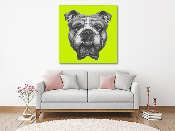 Bulldog in Glasses Art Print Wall Art