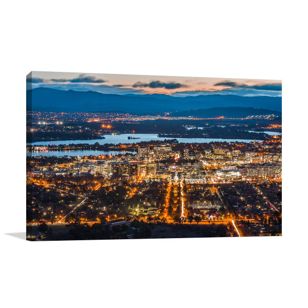 Canberra City Lights Dawn Art Prints