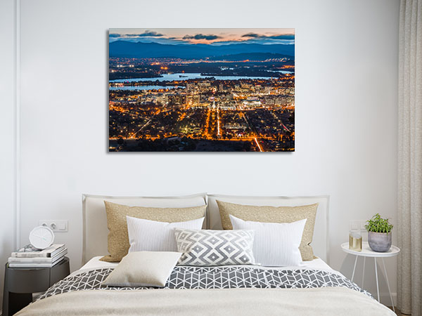 Canberra City Lights Dawn Canvas Prints