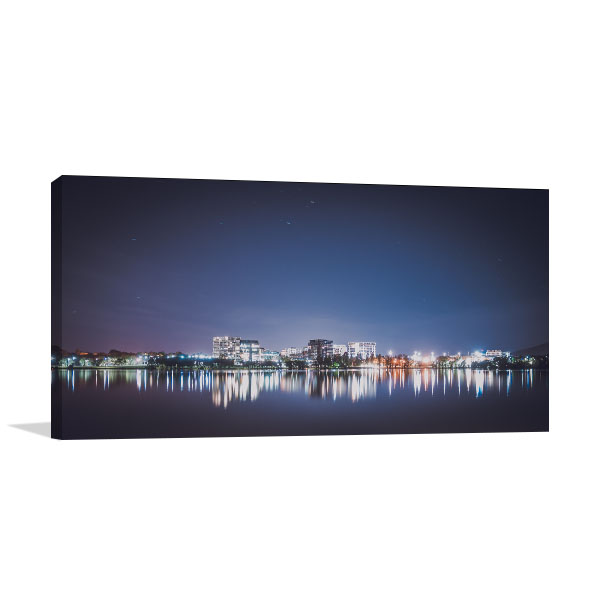 Canberra Lights Over Lake Canvas Art Prints