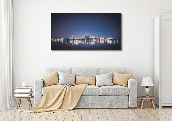 Canberra Lights Over Lake Prints Canvas