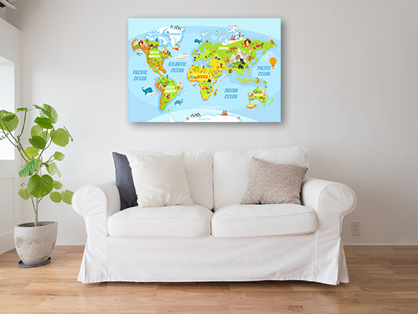 Cartoon World Map Prints Canvas