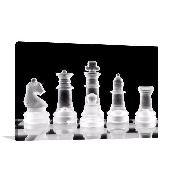 Chess Pieces On Glass Canvas Art Prints