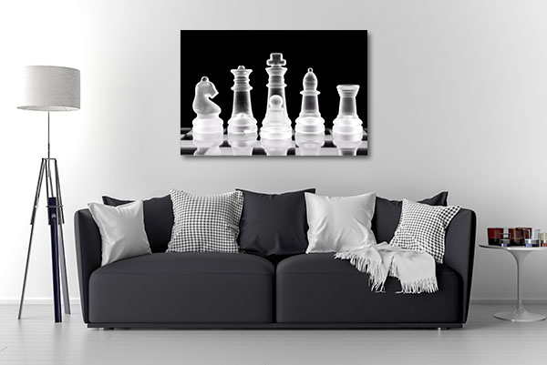 Chess Pieces On Glass Canvas Art