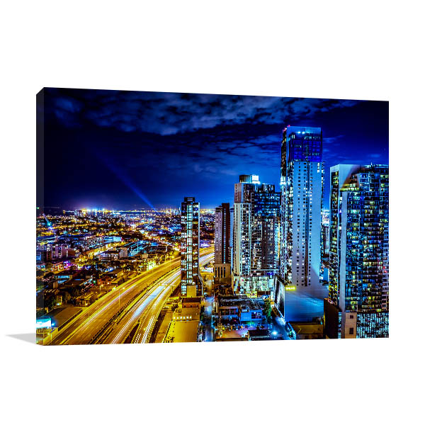 City of Melbourne at Night Canvas Art