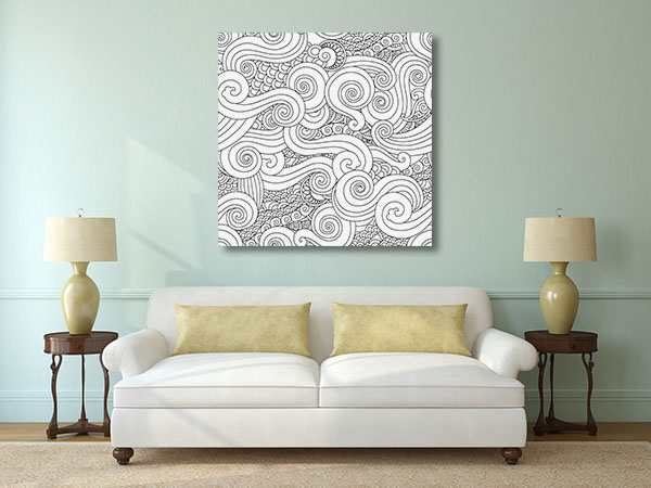 Clouds and Waves Prints Canvas