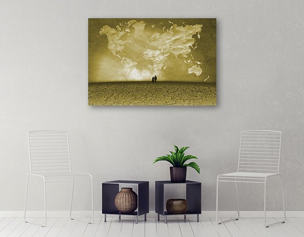 Clouds Of World Map Canvas Prints