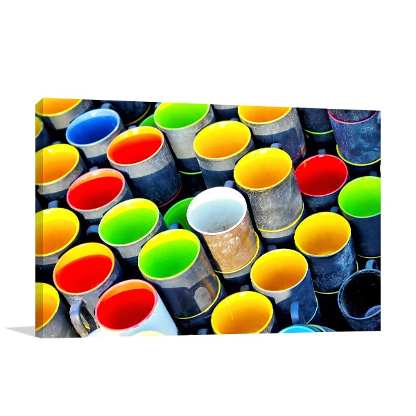 Colored Mugs Canvas Art Print Wall Art