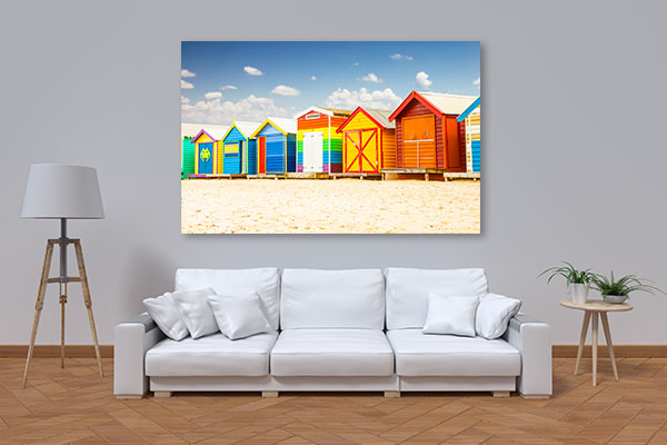 Colorful Bathing Houses at the Beach Melbourne Canvas Art Prints