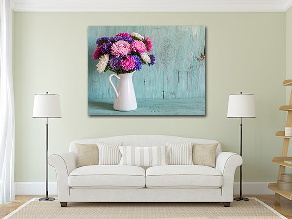 Colorful Flower Print Artwork on the Wall