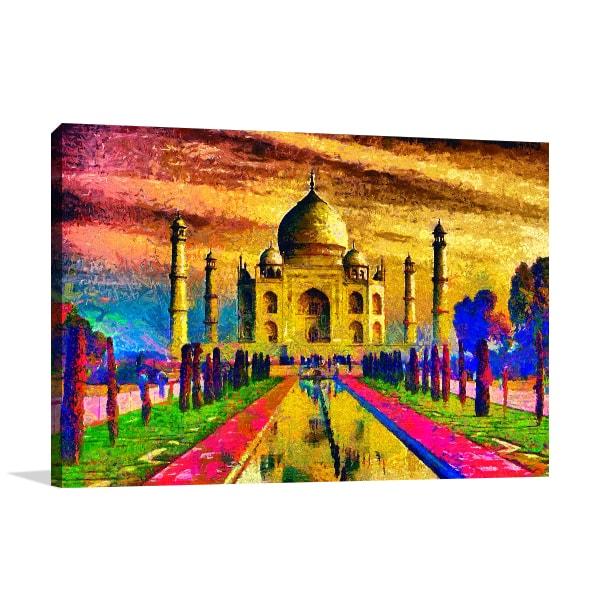 Colourful Taj Mahal Art Print And Framed Wall Decor Places
