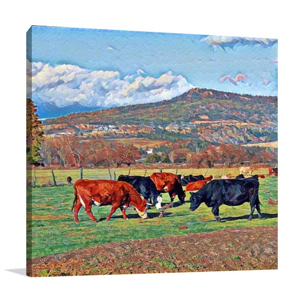 Cows Grazing in Farm Canvas Art Prints