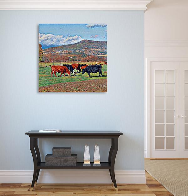 Cows Grazing in Farm Print Artwork