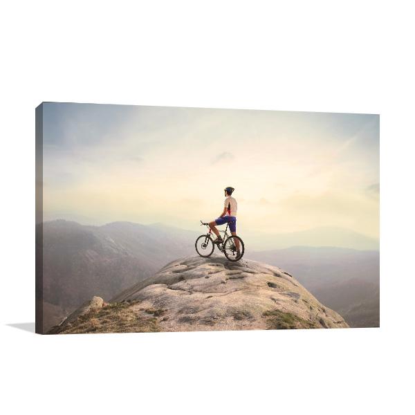 Cyclist Top of Hill Canvas Art Prints