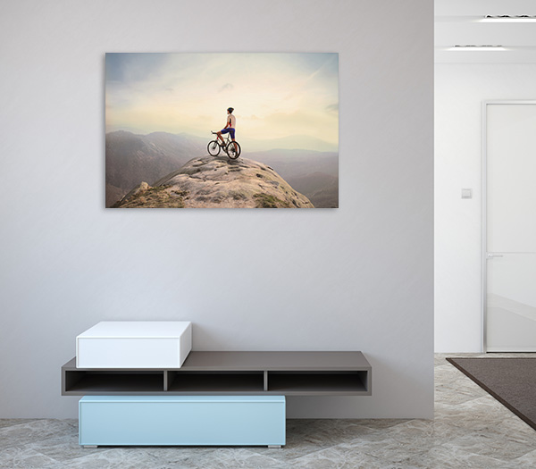 Cyclist Top of Hill Prints Canvas