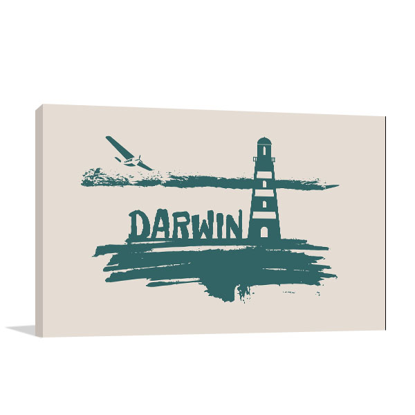 Darwin City Brush Print Artwork