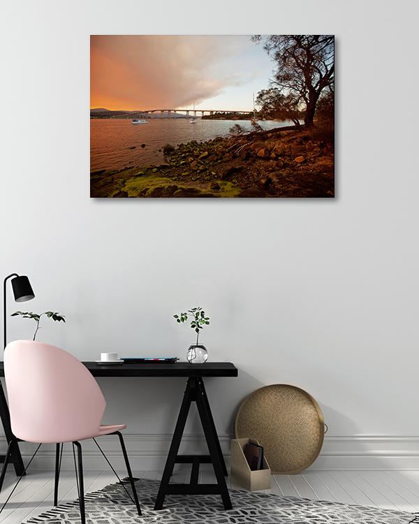 Derwent in Dusk Hobart Canvas Prints
