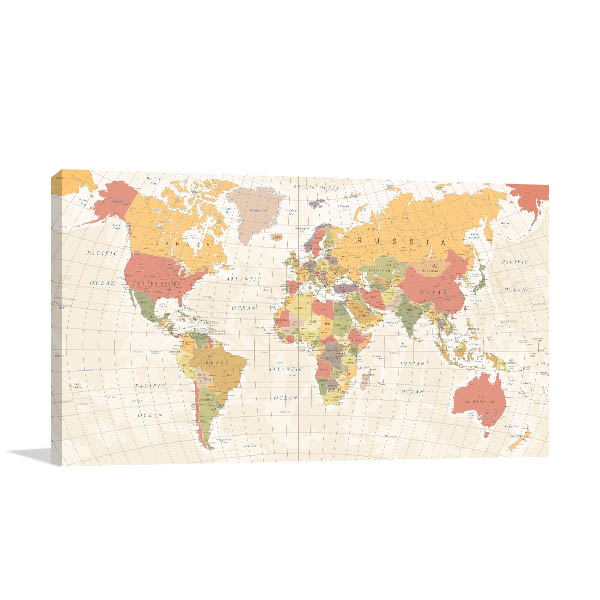 Detailed Vintage World Map Wall Art