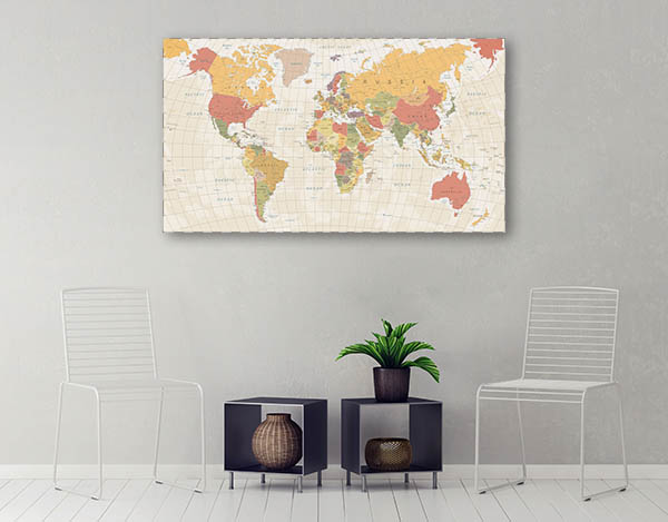 Detailed Vintage World Map Wall Art Print | Bedroom Canvases