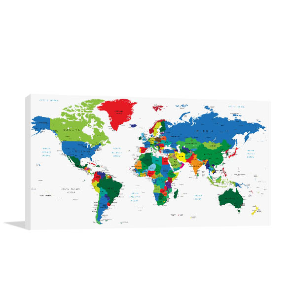 Detailed World Map Of Countries Prints Canvas