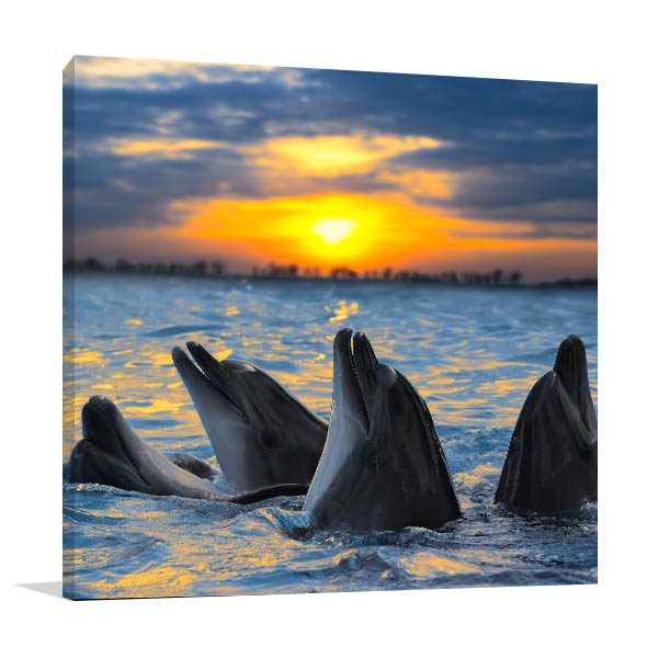 Dolphins in Sunset Print Artwork