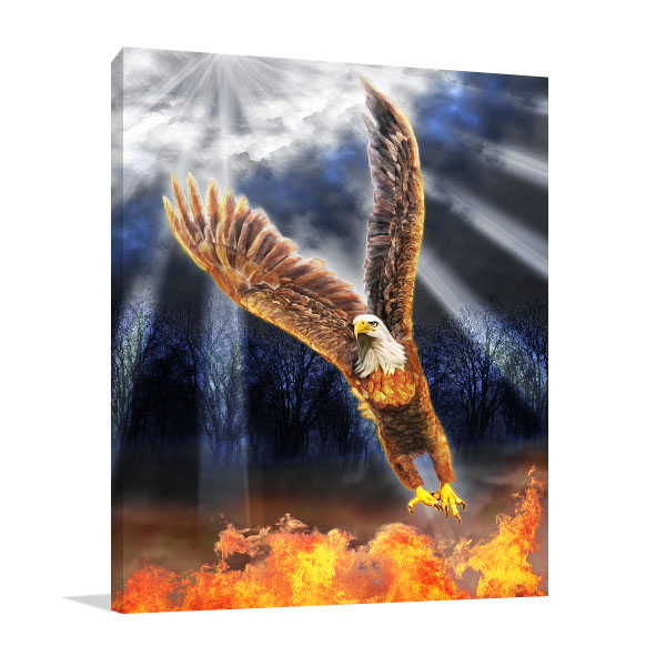 Eagle In Flames Prints Canvas