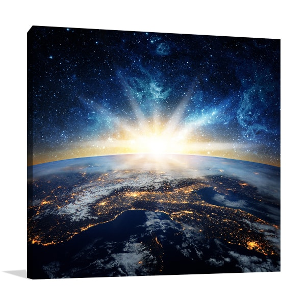 Earth and Galaxy Canvas Art Prints