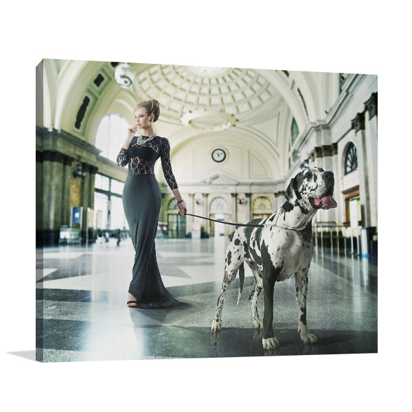 Fashionable Woman with Dog Canvas Art Prints