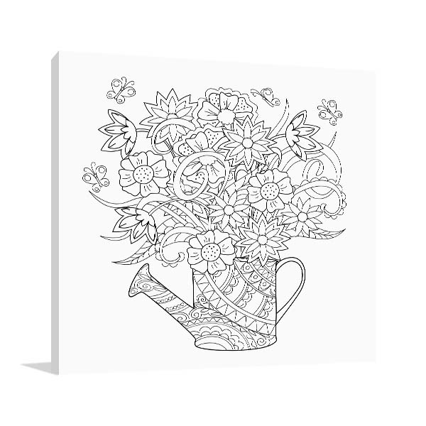 Flower Watering Can Canvas Art Prints