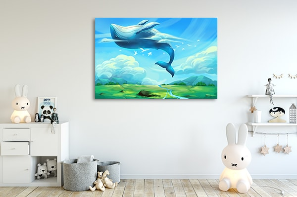 Flying Whale Canvas Prints