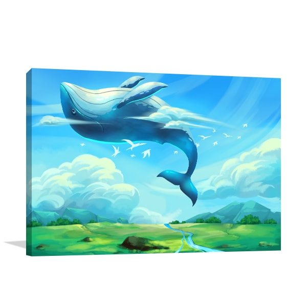 Flying Whale Art Prints