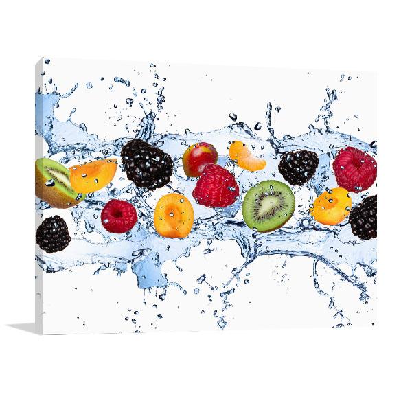 Fruits In Water Splash Canvas Art Prints