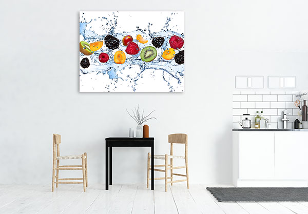 Fruits In Water Splash Canvas Prints