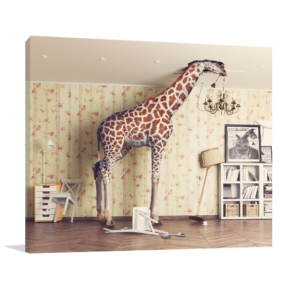 Giraffe chandelier wall art print contemporary canvas online giraffe chandelier art prints aloadofball Image collections