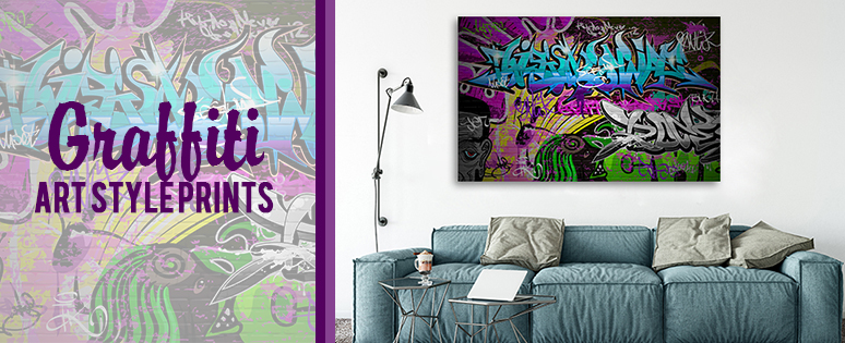 Graffiti Style Prints For Living Room Interior Decor