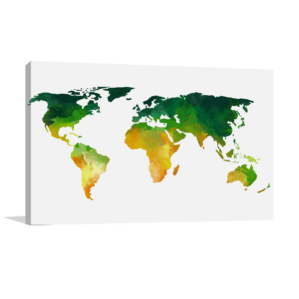 Green and yellow world map art print in modern art on canvas green and yellow world map art print gumiabroncs Gallery
