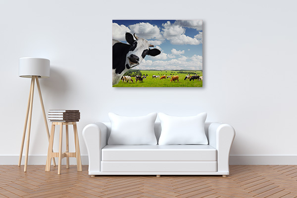 Green Rural Meadow Canvas Art
