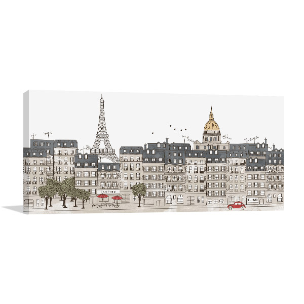 Hand Drawn Paris City Skyline Prints Canvas