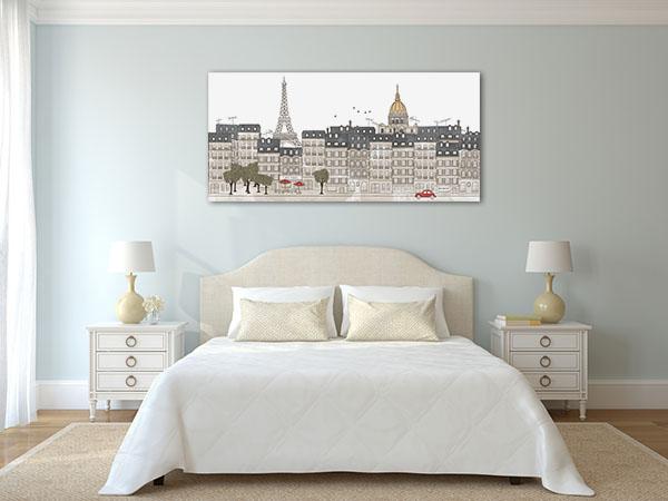 Hand Drawn Paris City Skyline Canvas Prints