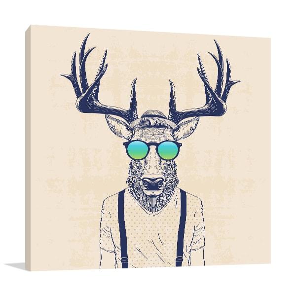 Hipster Deer Canvas Art Print Canvas Art ...