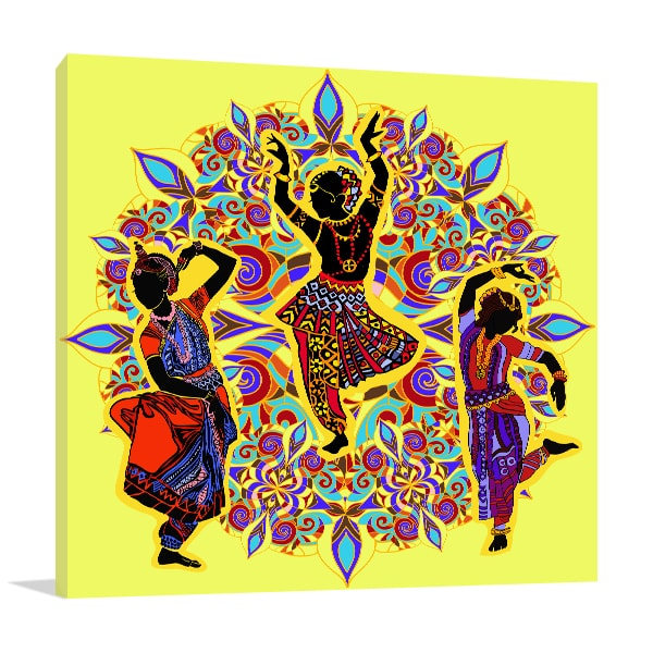 Indian Dancers Art Print In Yellow Background Wall Hanging