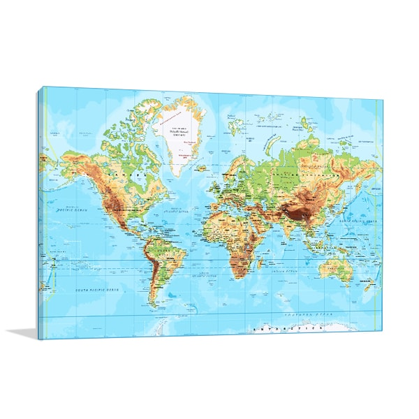 Labeled world map wall art print for school rooms concepts labeled world map canvas prints gumiabroncs Gallery