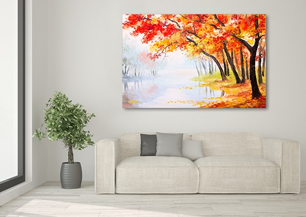 Lake and Autumn Leaves Print Artwork