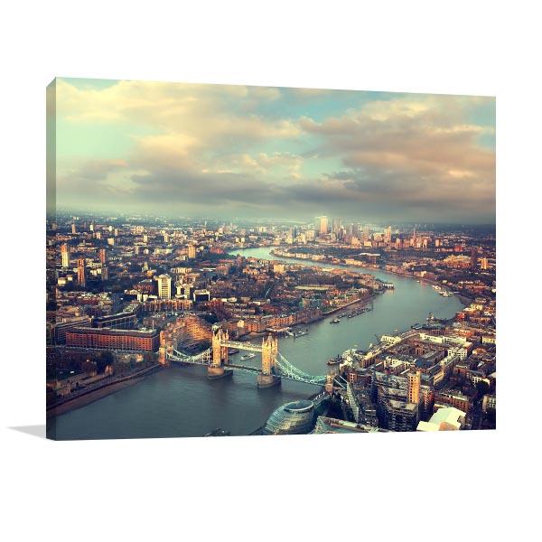 London Aerial View Sunset Artwork