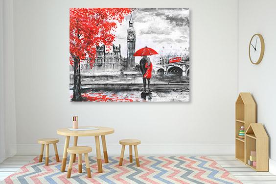 Lovers in Big Ben Print Artwork