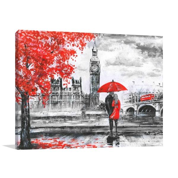 Lovers in Big Ben Canvas Art Prints