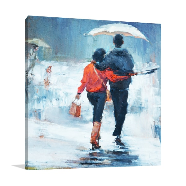 Lovers Under Rain Canvas Art Prints