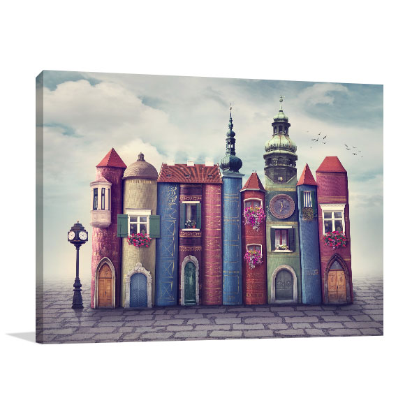 Magic Old Books City Prints Canvas