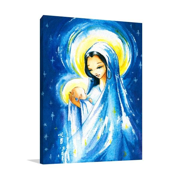 Mary and Jesus Christ Print Art Canvas