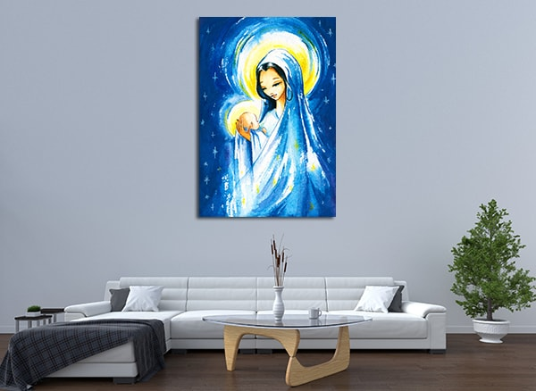 Mary and Jesus Christ Print Canvas on the Wall